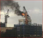 Melbourne Crane on fire before collapsing Click to enlarge